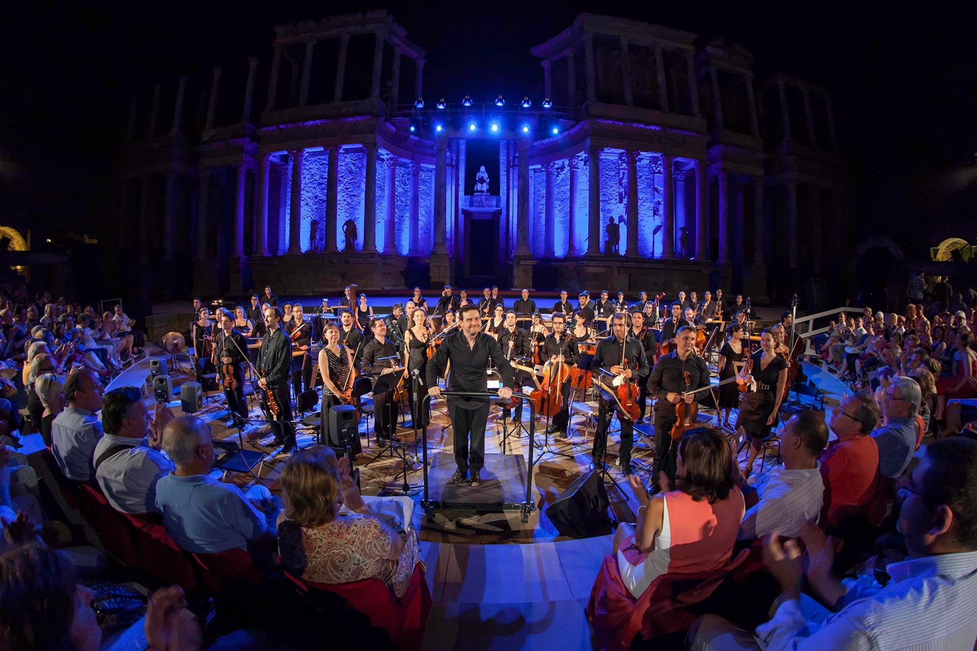 La Orquesta de Extremadura en el Festival Internacional de Teatro Clásico de Mérida. Foto de Jero Morales